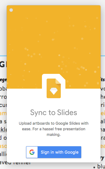 after signing into google sync to slides panel doesn t update