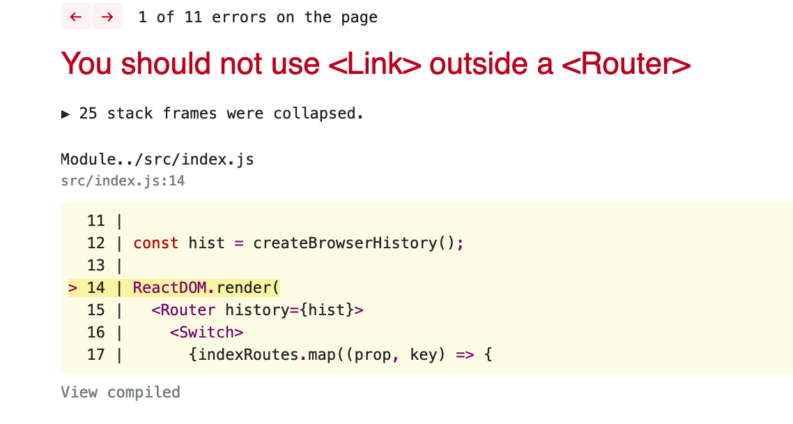 Error: You should not use <Link> outside a <Router> · Issue