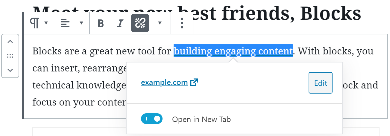 Text link highlighted with new window chosen.