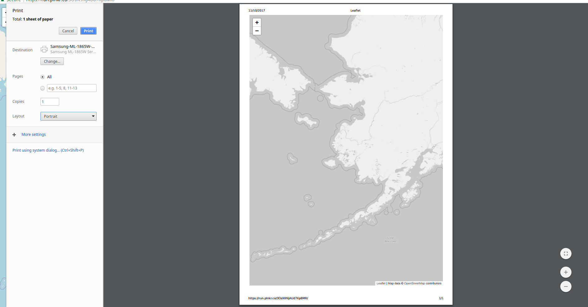 Printing leaflet from chrome: Unexplained patch of map shows