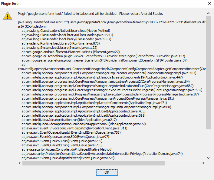 Google Sceneform Plugin crashes in Android Studio · Issue #673