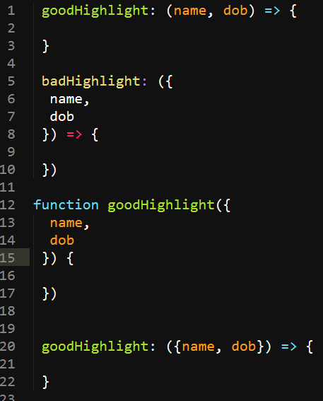 Incorrect Highlighting for arrow functions with destructured