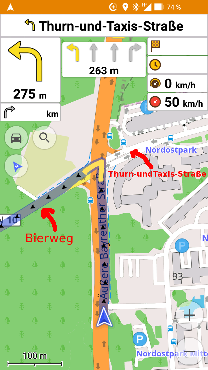 Wrong street name shown in routing description (offline