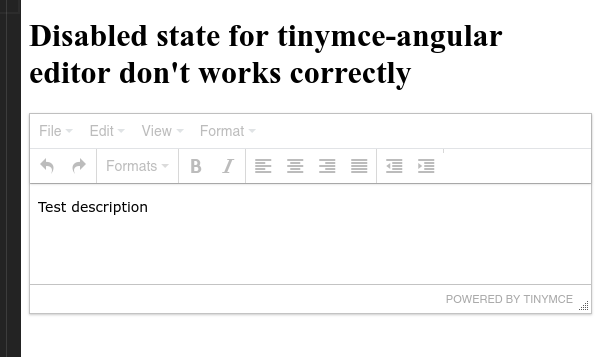 Disabled state for tinymce-angular editor don't works