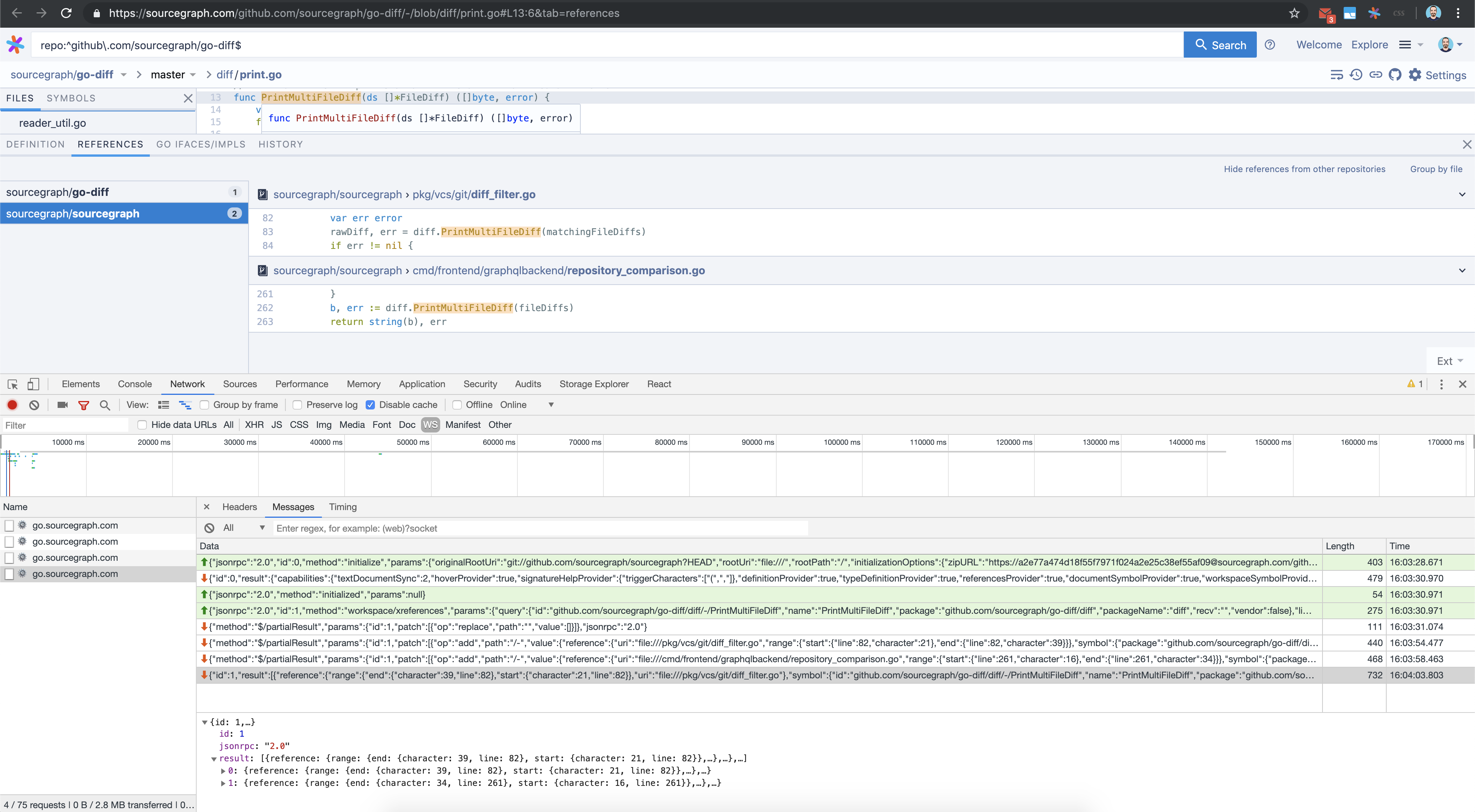 Go extension opens multiple Go lang server WebSockets, all but last
