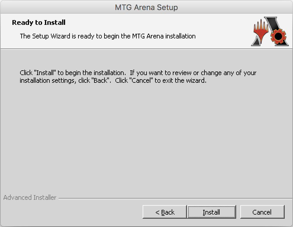 Instructions on how to install Magic the Gathering Arena on macOS