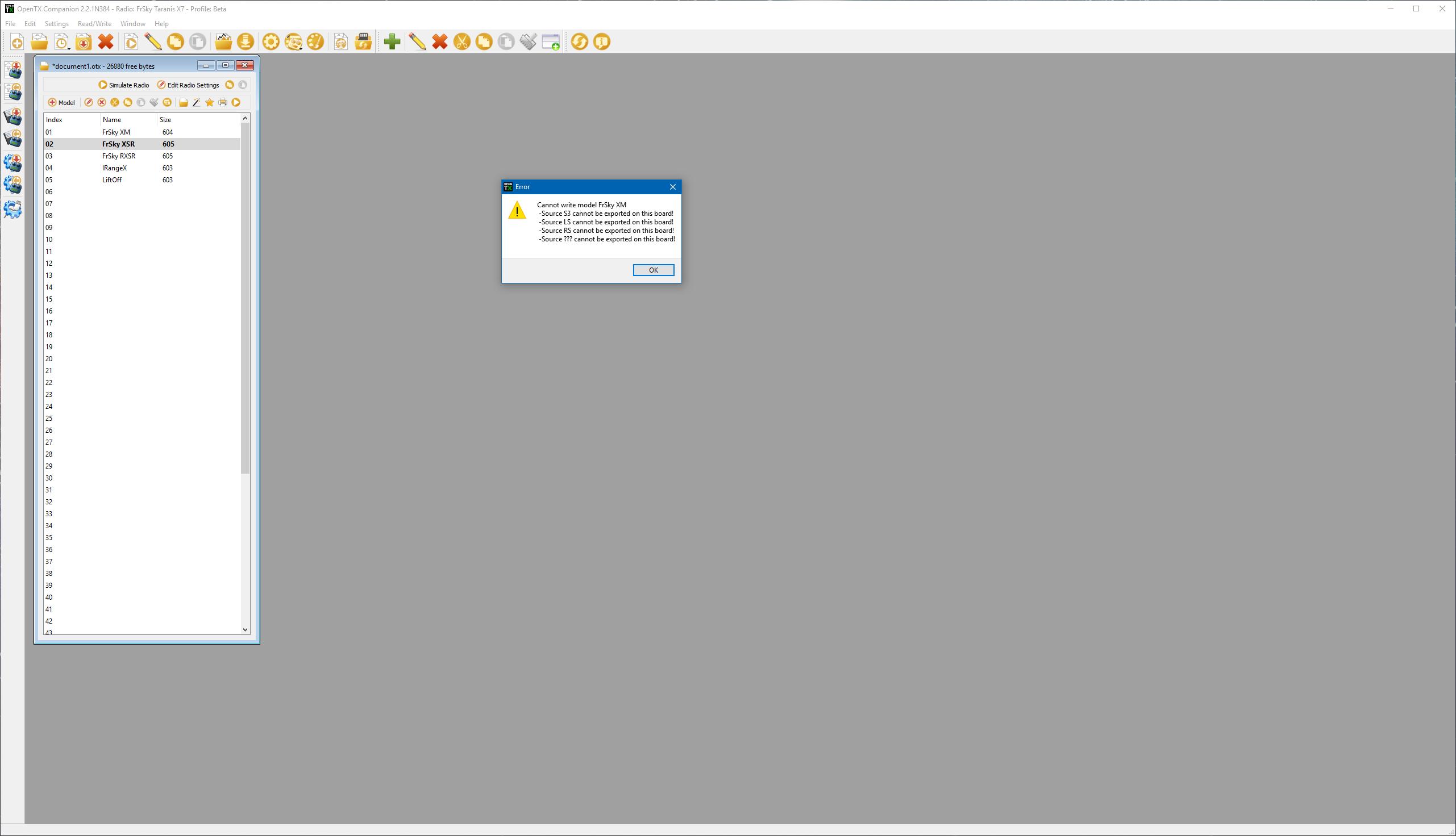 Errors on write model to radio · Issue #5229 · opentx/opentx