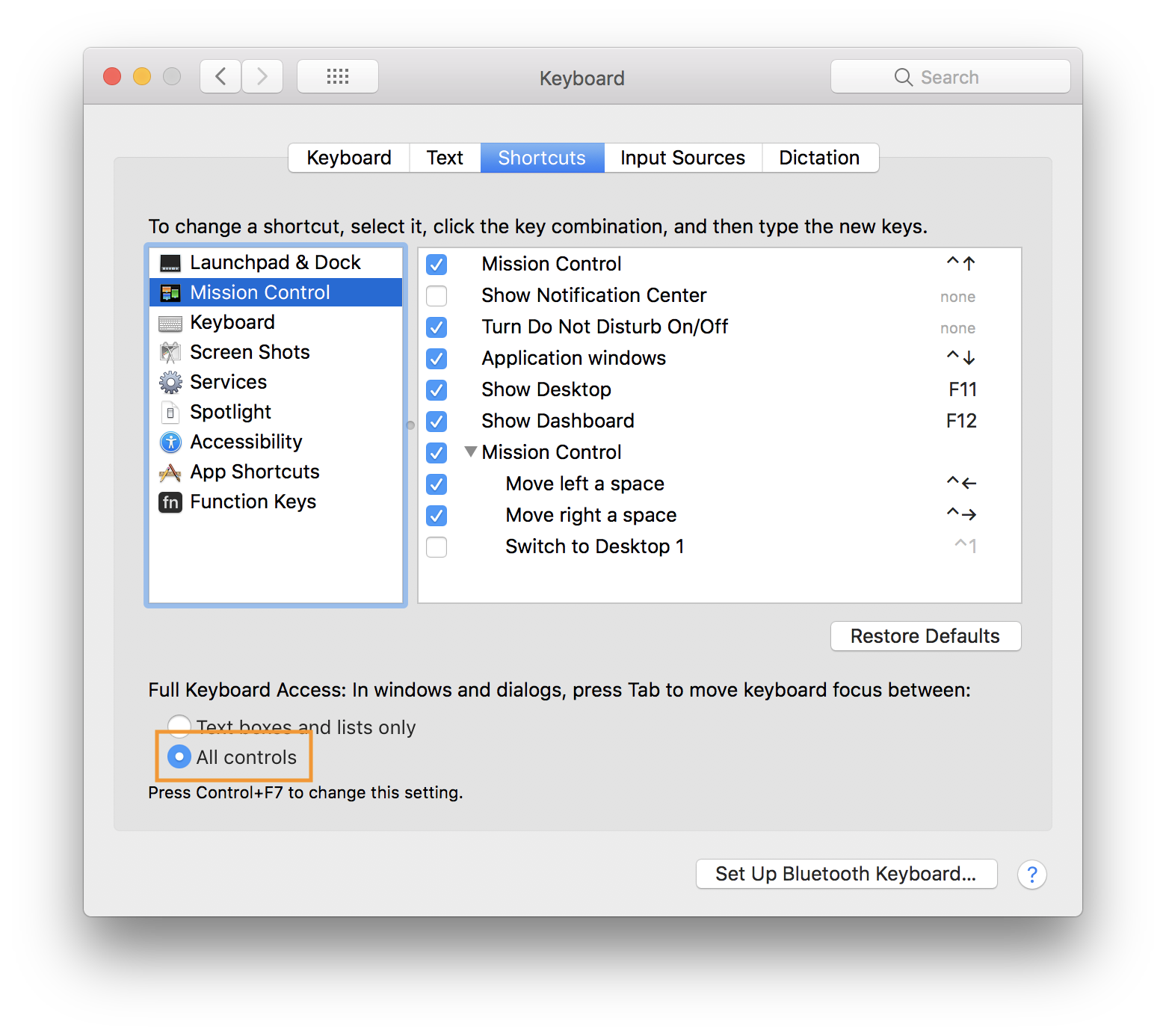 The macOS Settings window. The screenshot is highlighting the selection of the 'All controls' radio button.