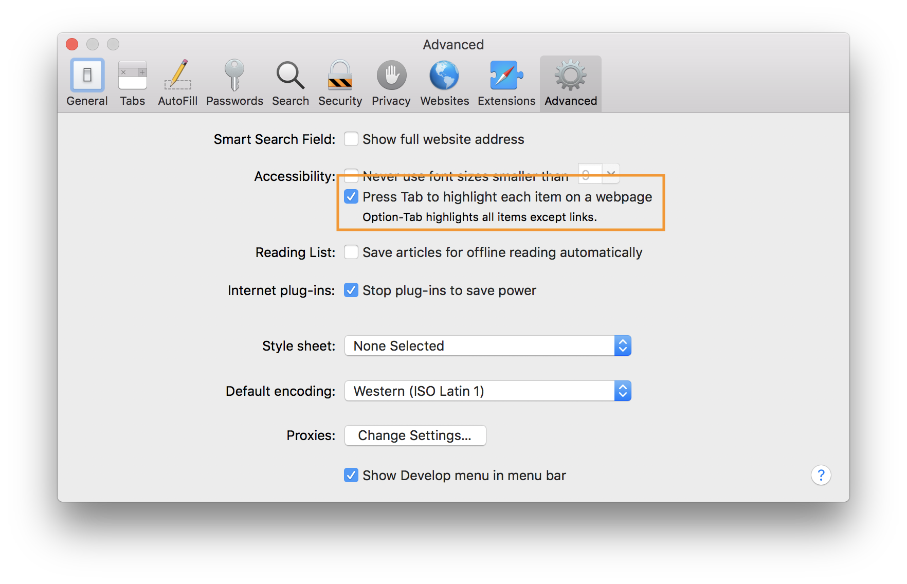 The Safari Preferences window. The screenshot is highlighting the selection of the 'Press Tab to highlight each item on a webpage' checkbox.