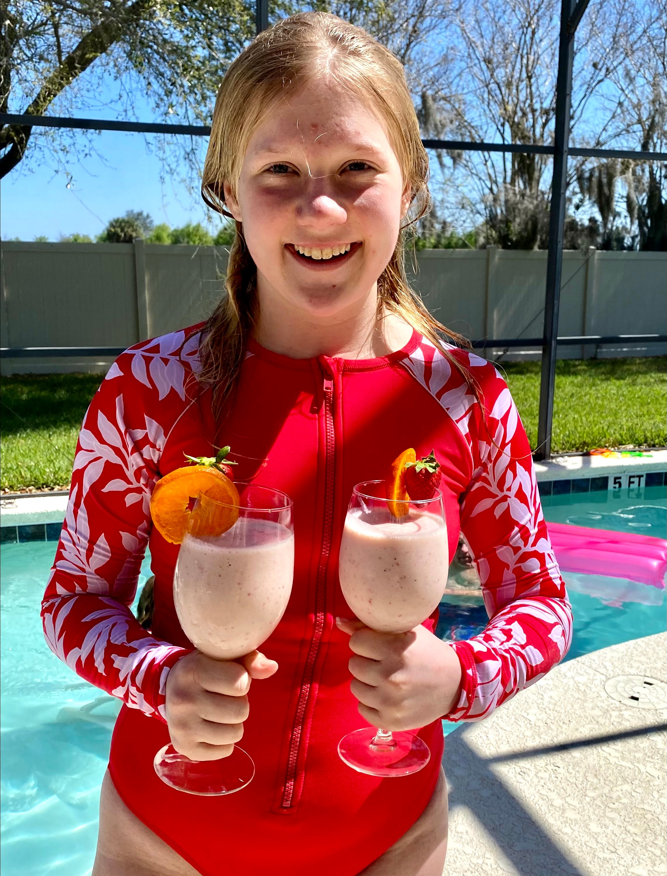 Audrey with frozen drinks