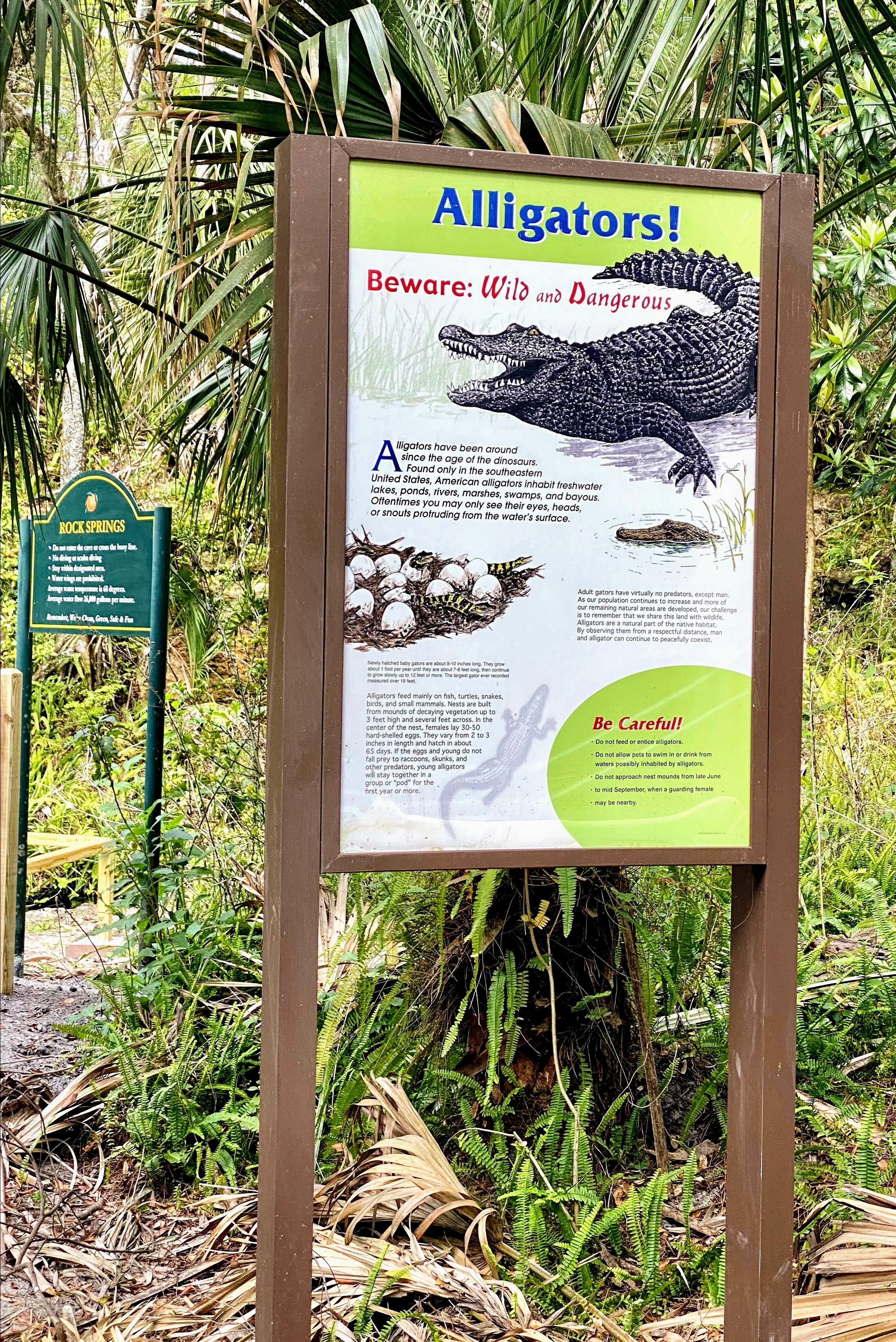 Alligator sign at Kelly Spring