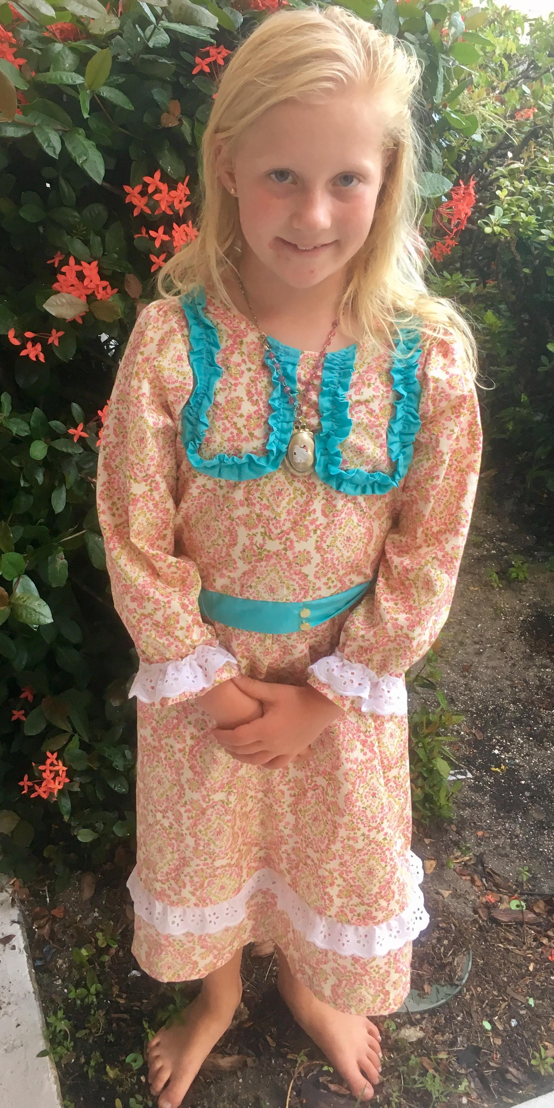 Audrey in her big woods dress