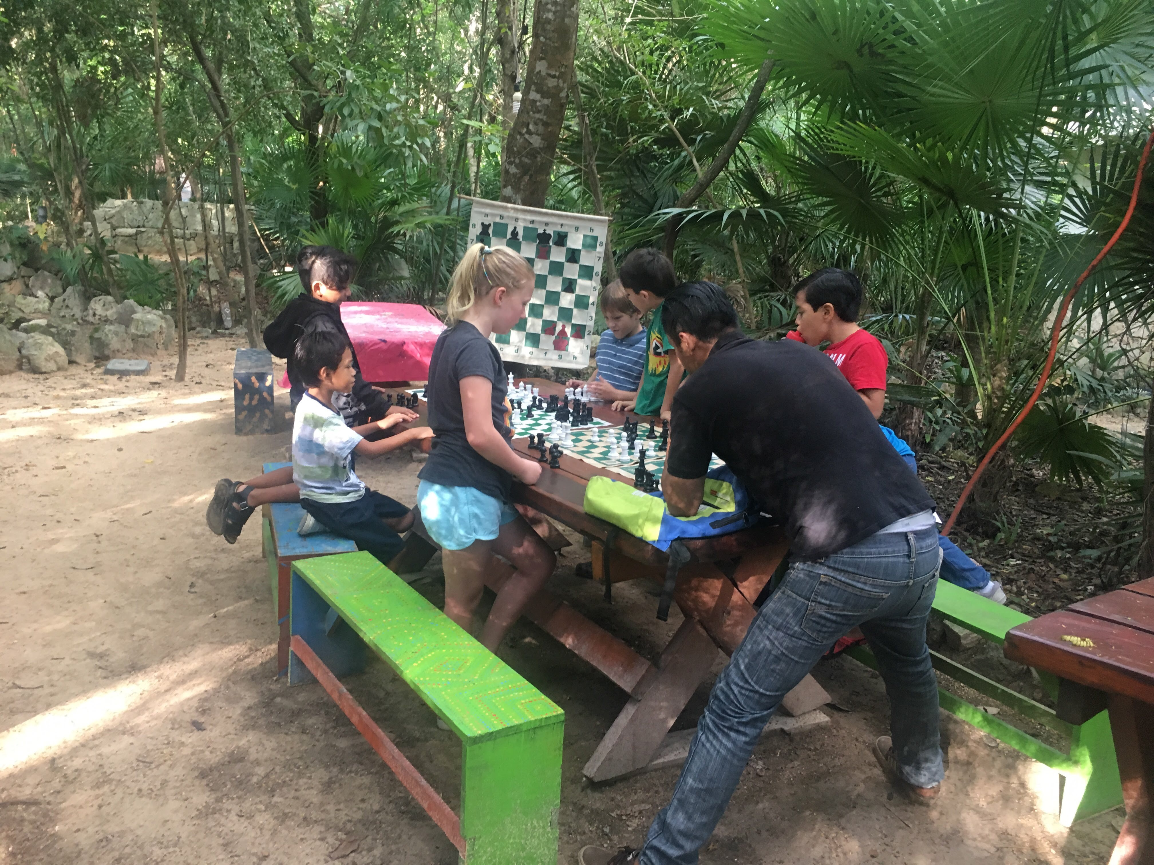 playing chess at park day