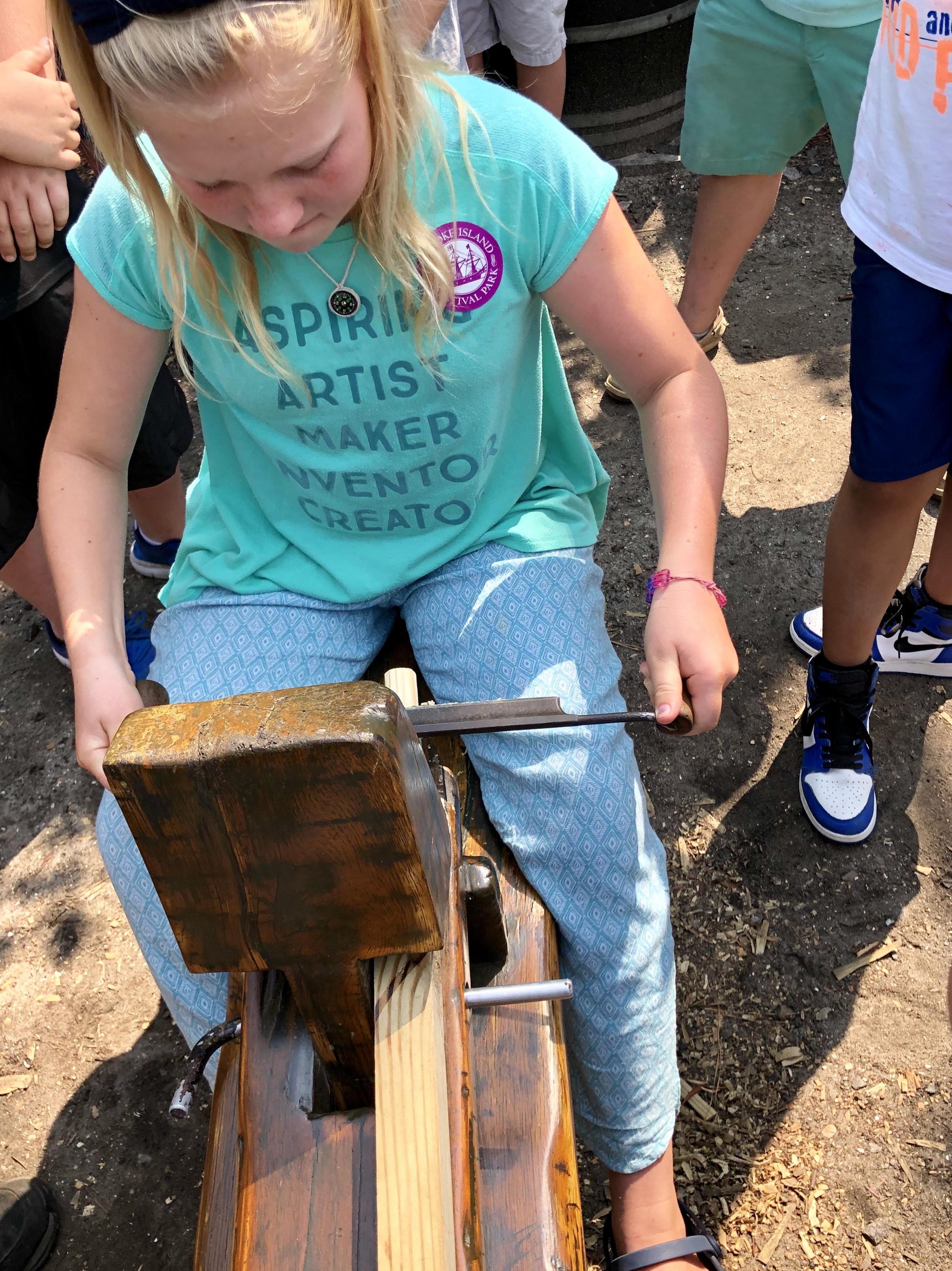 Audrey making furniture