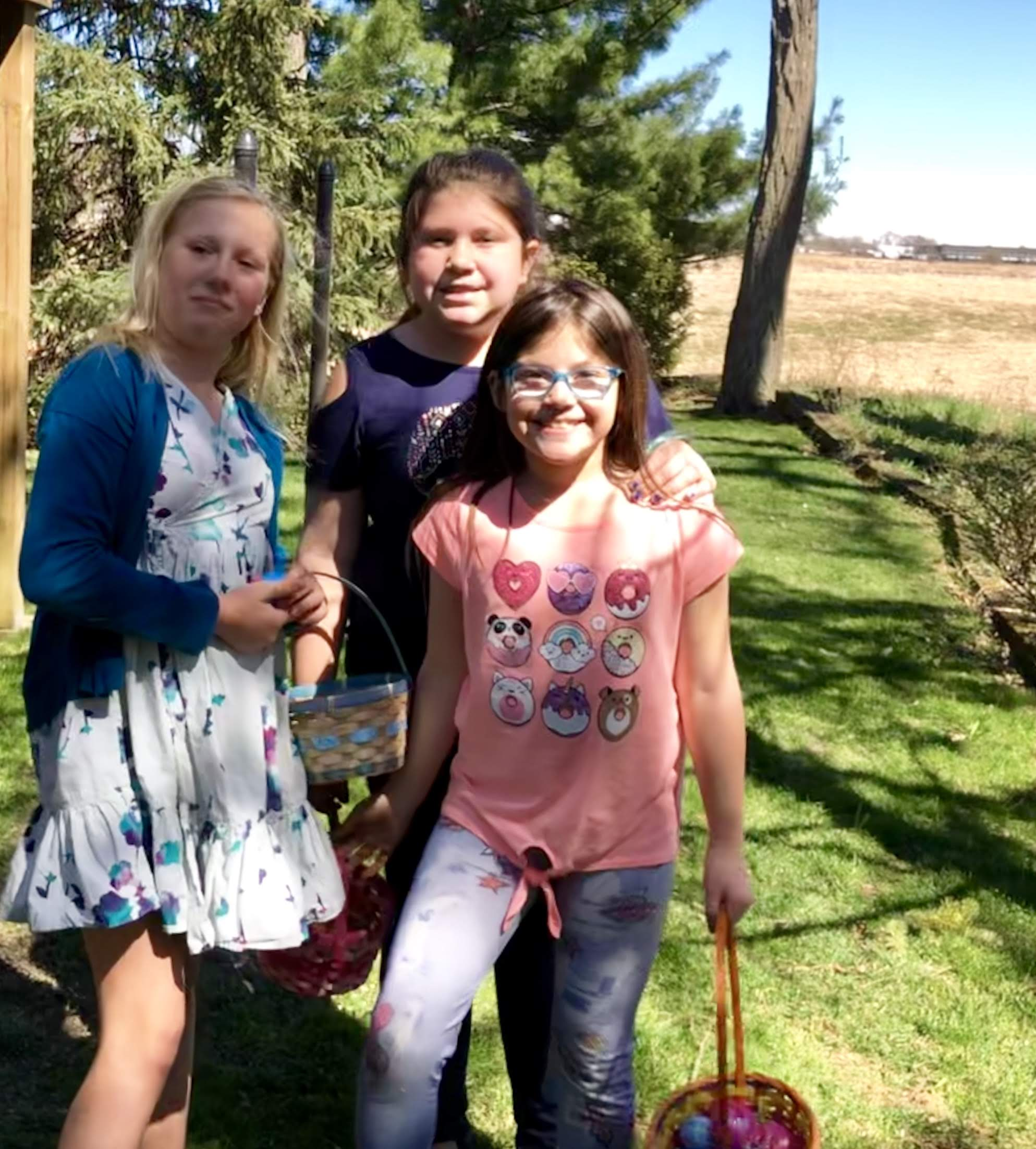 hunting eggs with Maya and Natelie