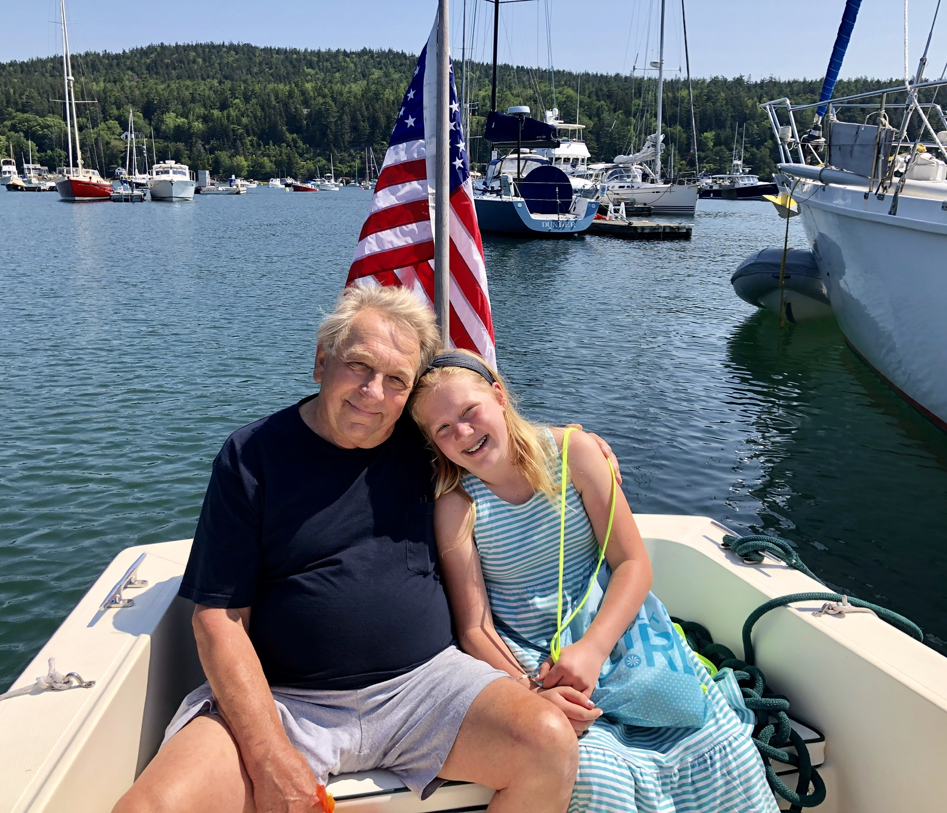 Audrey and Gramps in the launch