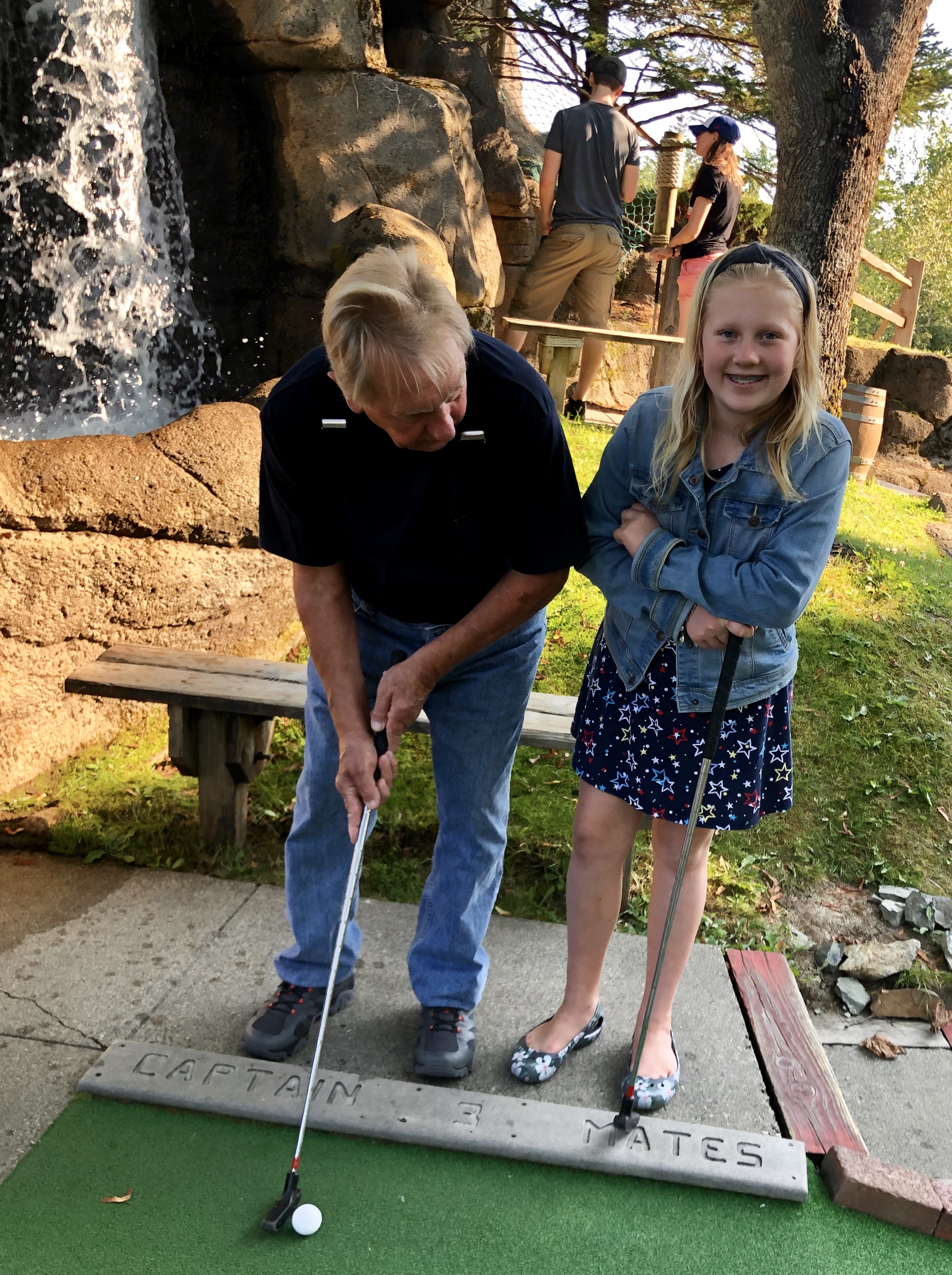 playing mini golf