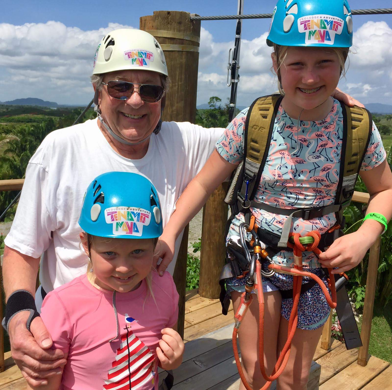 Grampsy, Audrey and Lorelei ready to zipline