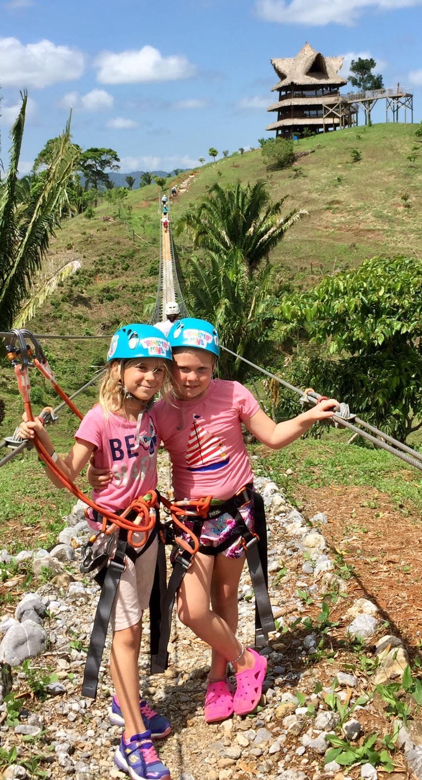 Lorelei and Rachel ziplining