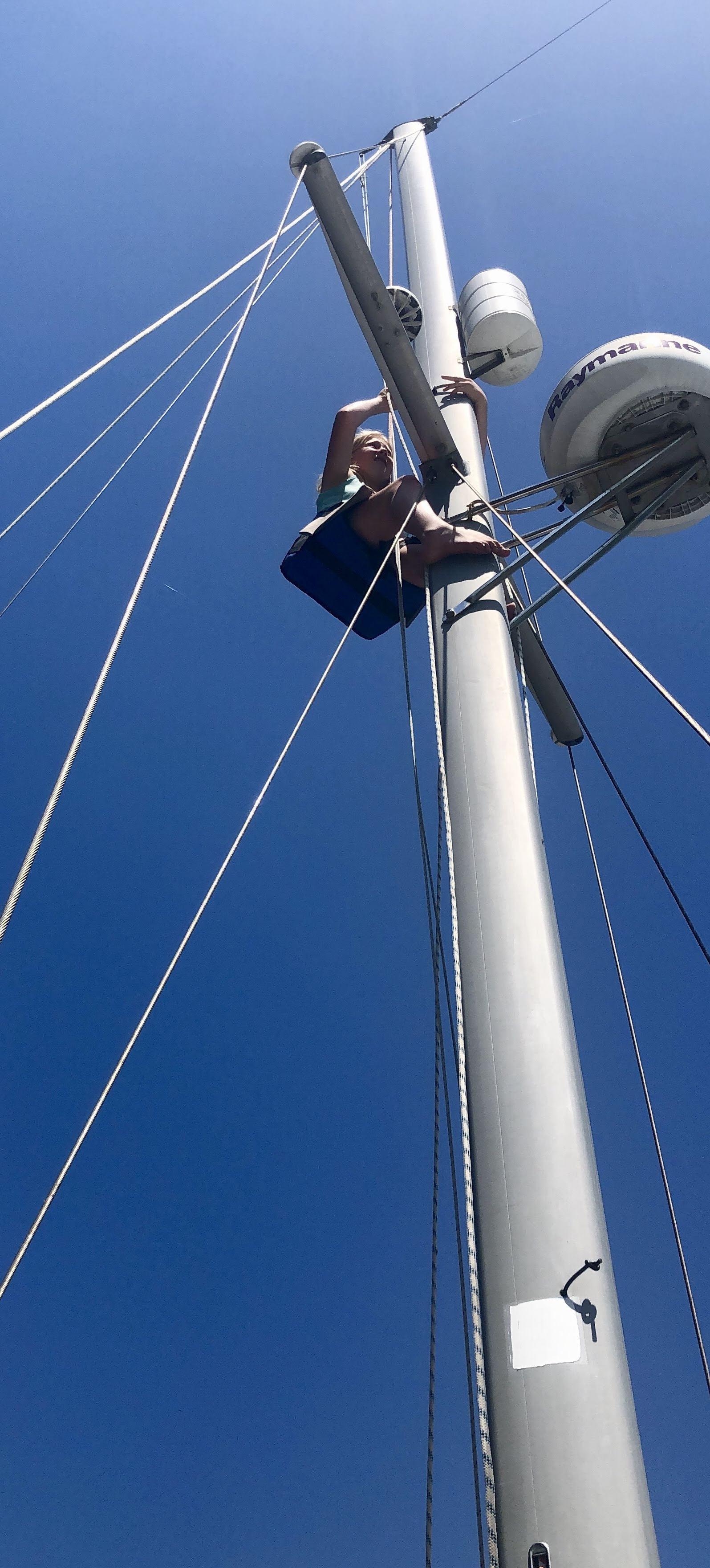 Audrey up the mast