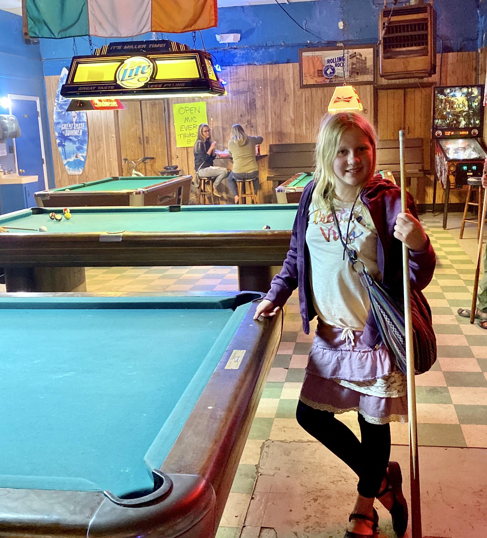 Audrey playing pool at the Royal James