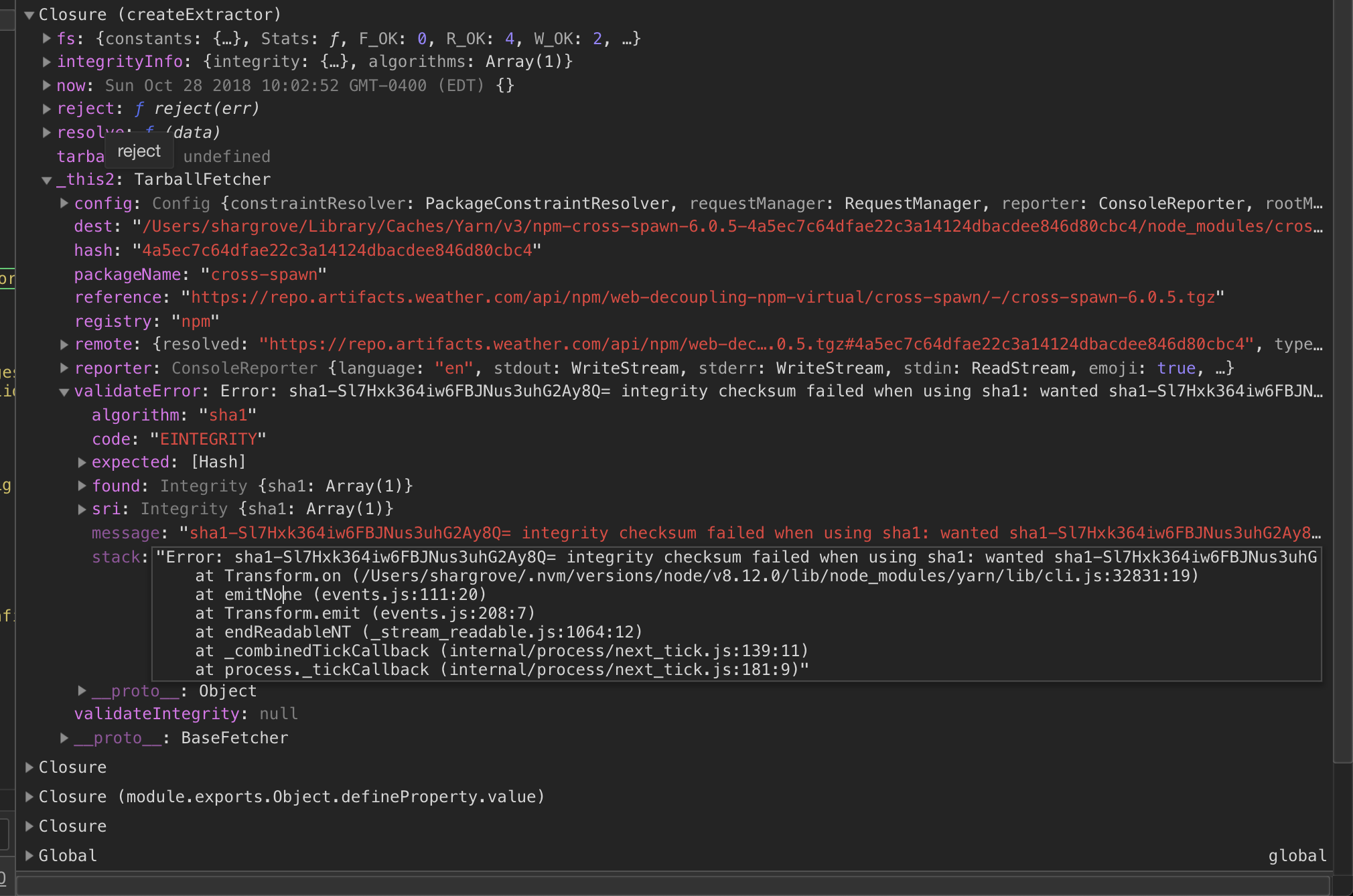 Extracting the tar content of undefined failed · Issue #6312