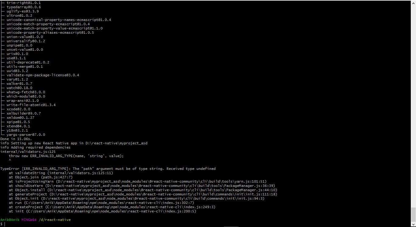 react native init throwing error ERR_INVALID_ARG_TYPE(name