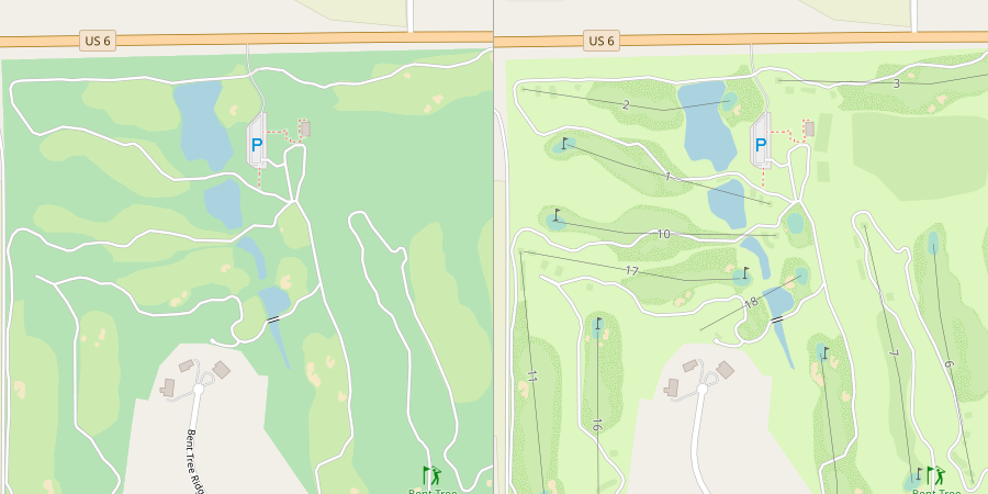 Sample rendering of a golf course, before and after