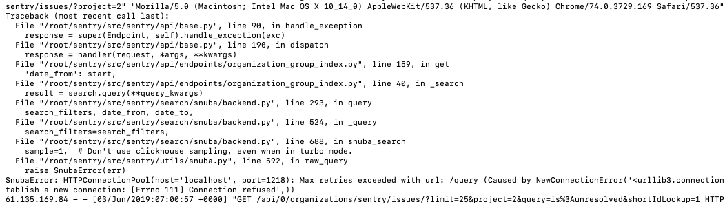 SnubaError: HTTPConnectionPool(host='localhost', port=1218): Max
