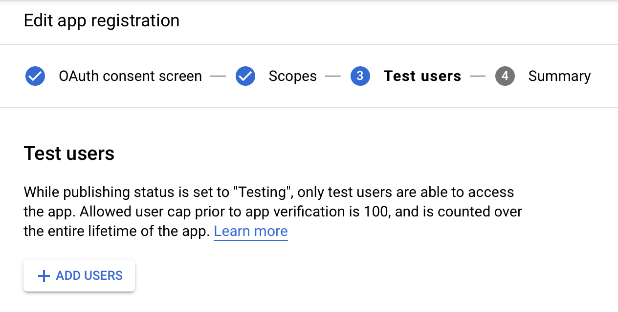 Test users selection