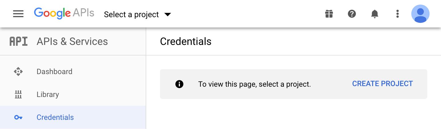Google APIs: Create project