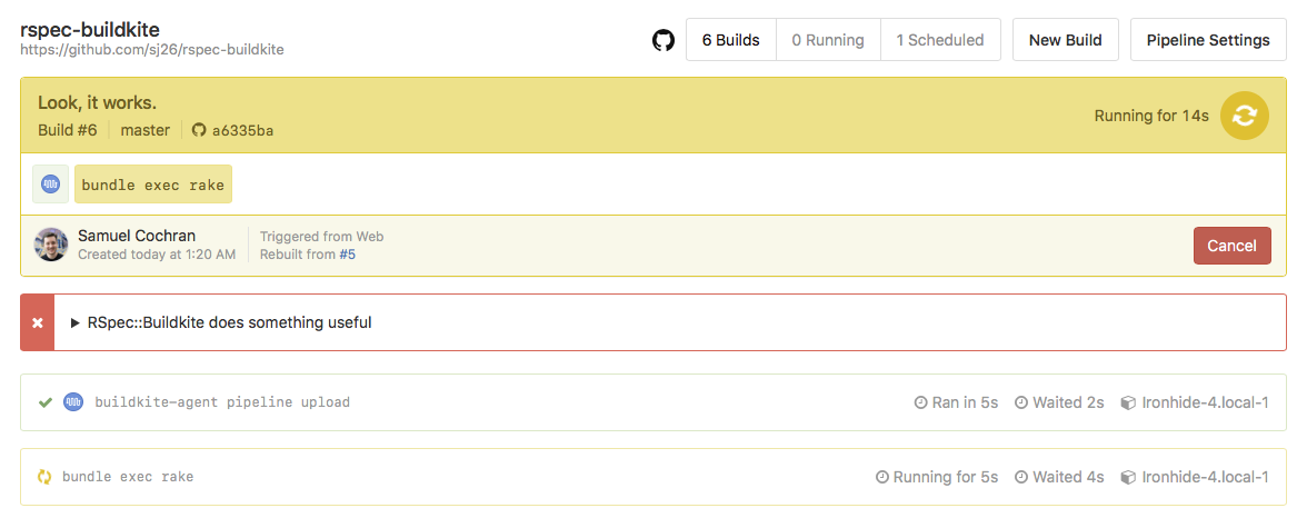A Buildkite build still in progress with an annotation showing an RSpec failure
