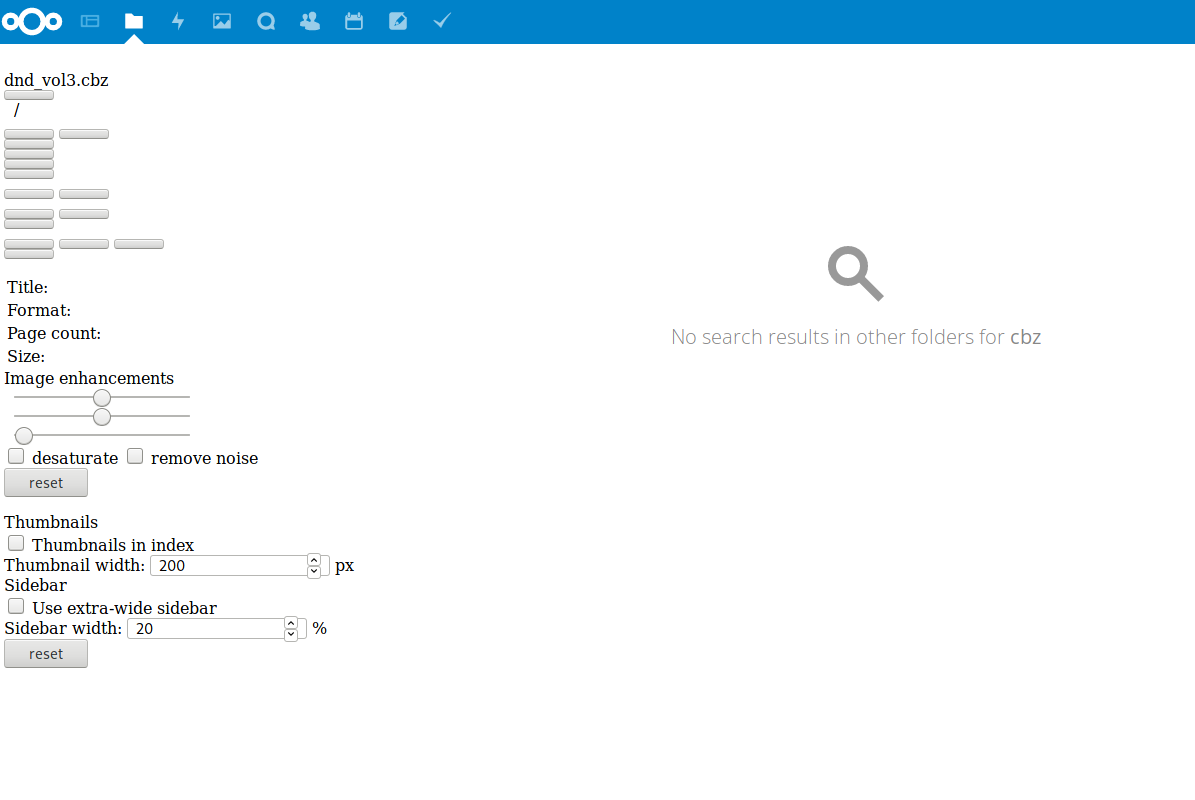CBZ/CBR viewer does not work on Nextcloud 13 · Issue #79