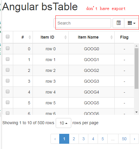 How can I use bootstrap-table's export function in angularjs