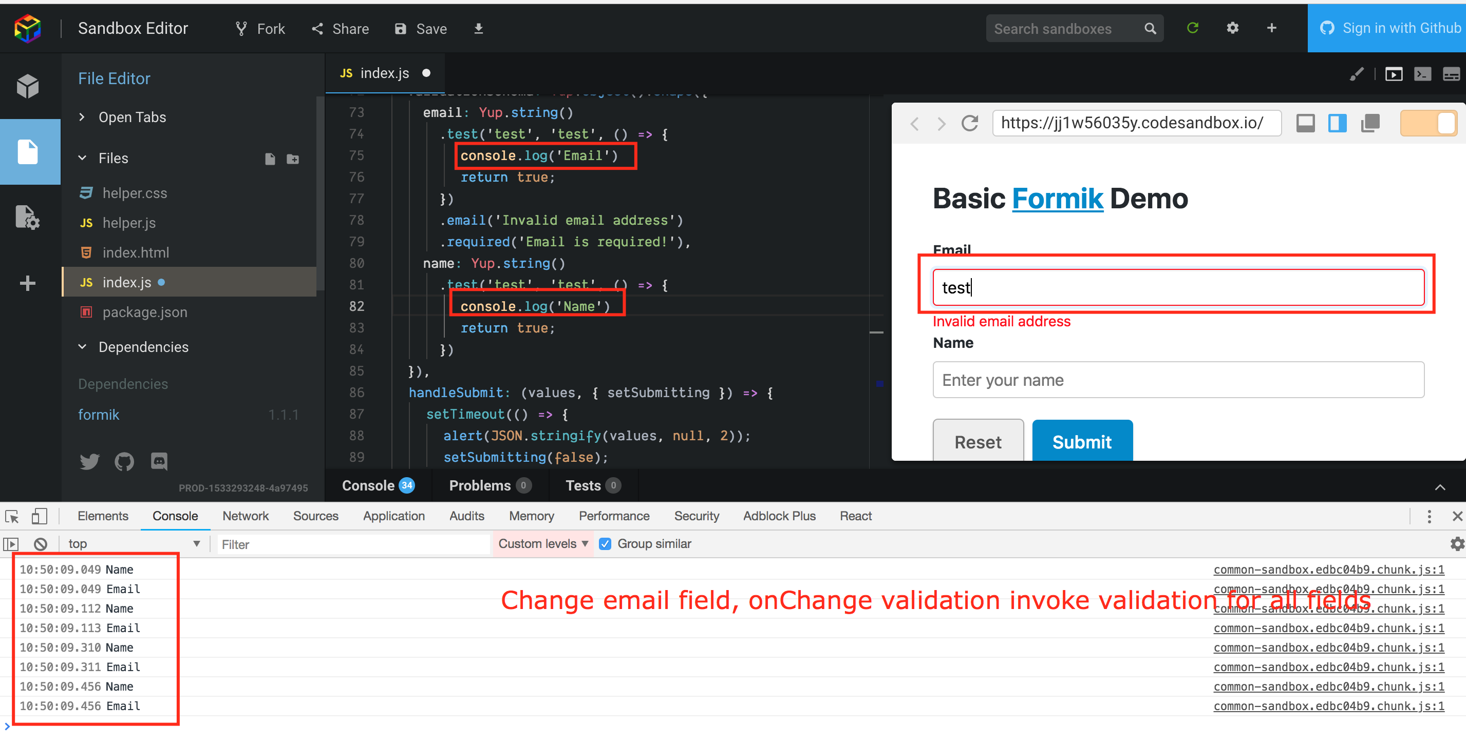 Validation by field · Issue #860 · jaredpalmer/formik · GitHub