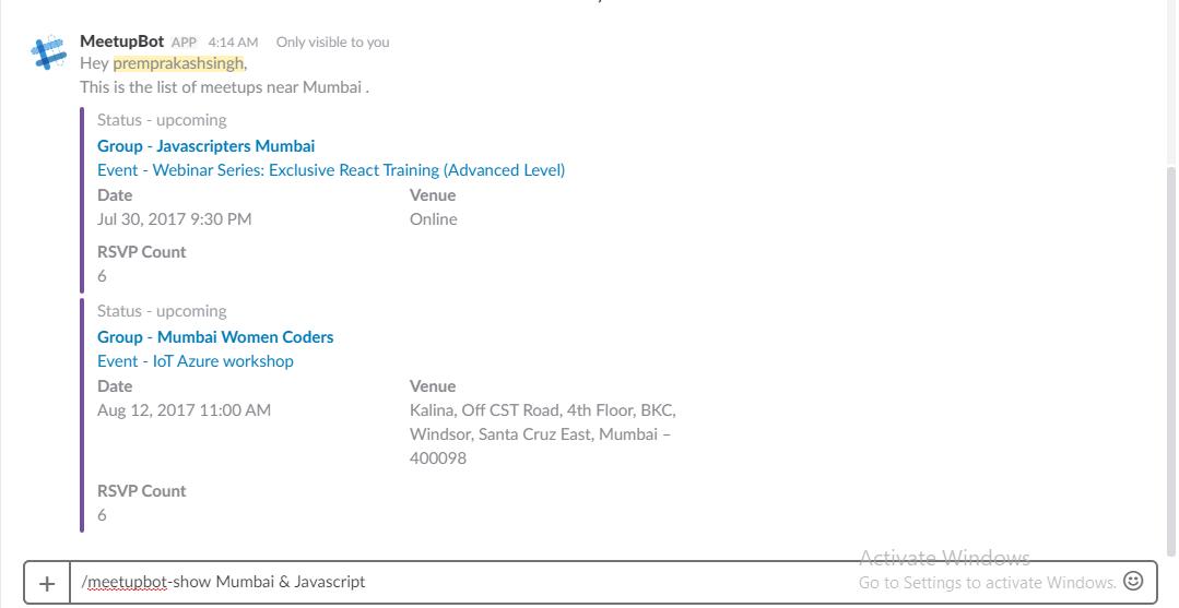 MeetupBot Slack Chat View