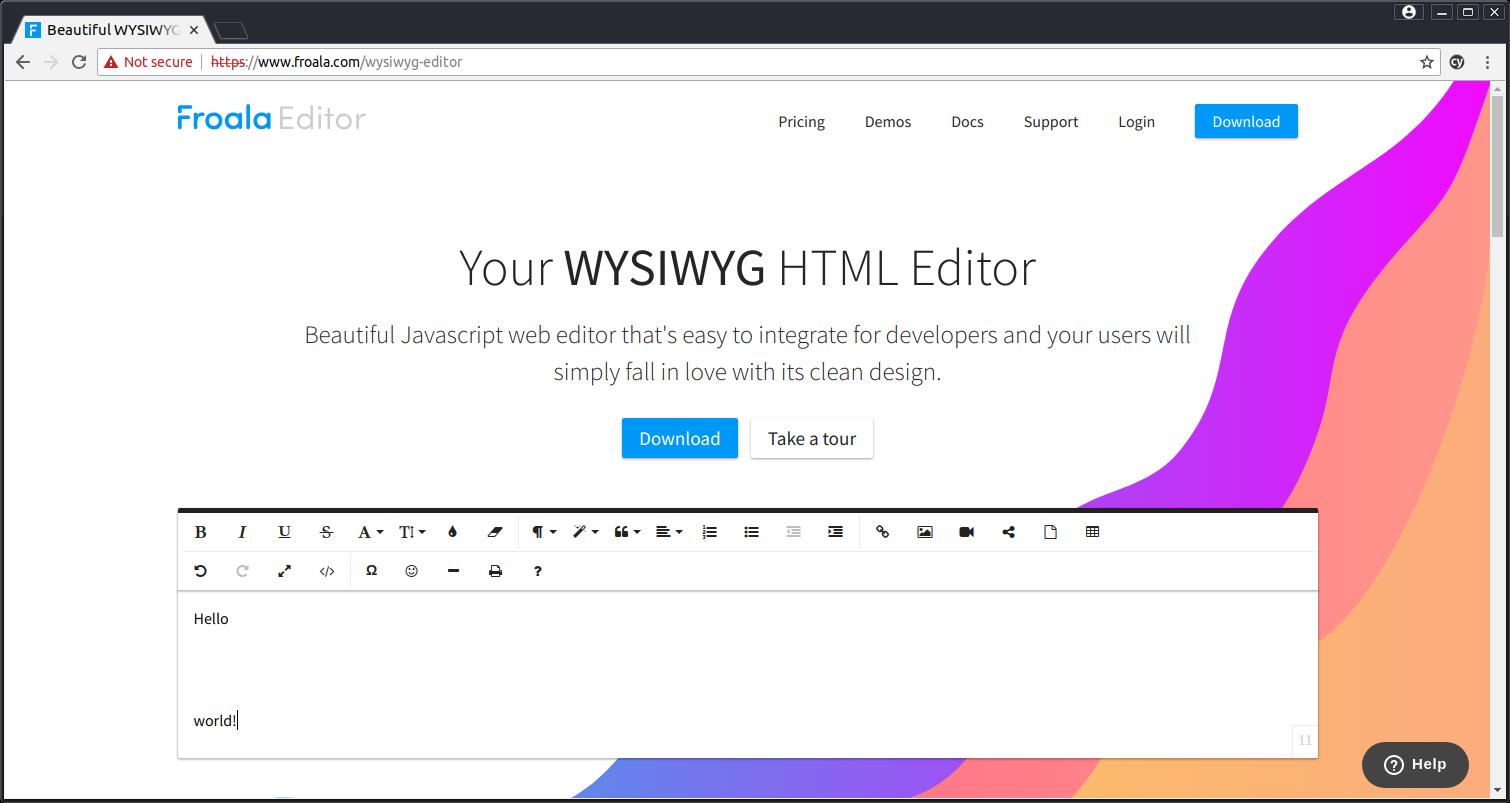 Froala (WYSIWYG HTML Editor) does not read correctly the