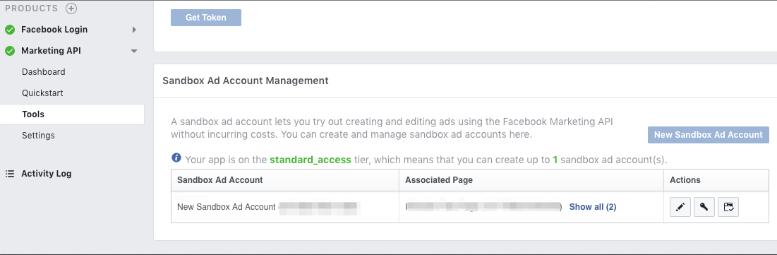 Sandbox Ad Account Testing Environment · keboola/ex-facebook