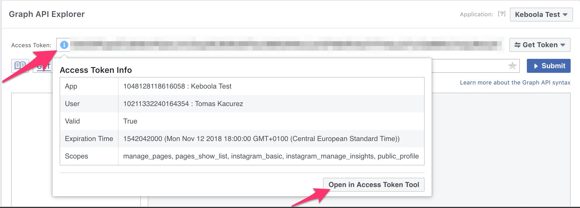 Get access token for instagram extractor via Facebook Graph