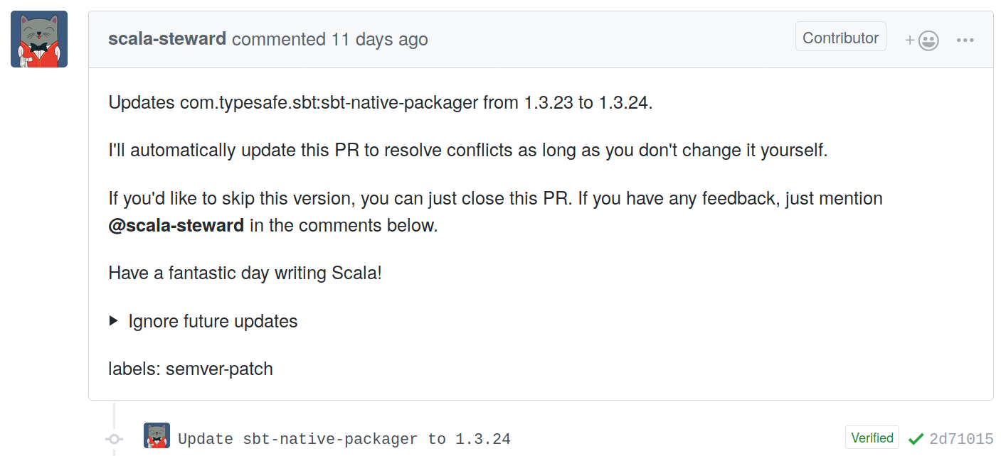 screenshot of a Scala Steward pull request