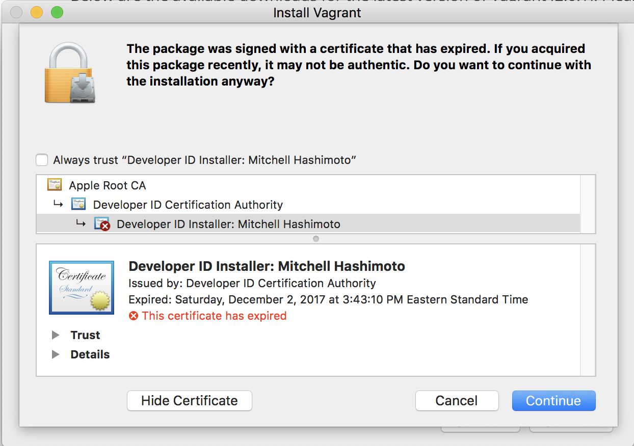 Os X G Certificate Expried Issue 9240 Hashicorpvagrant Github