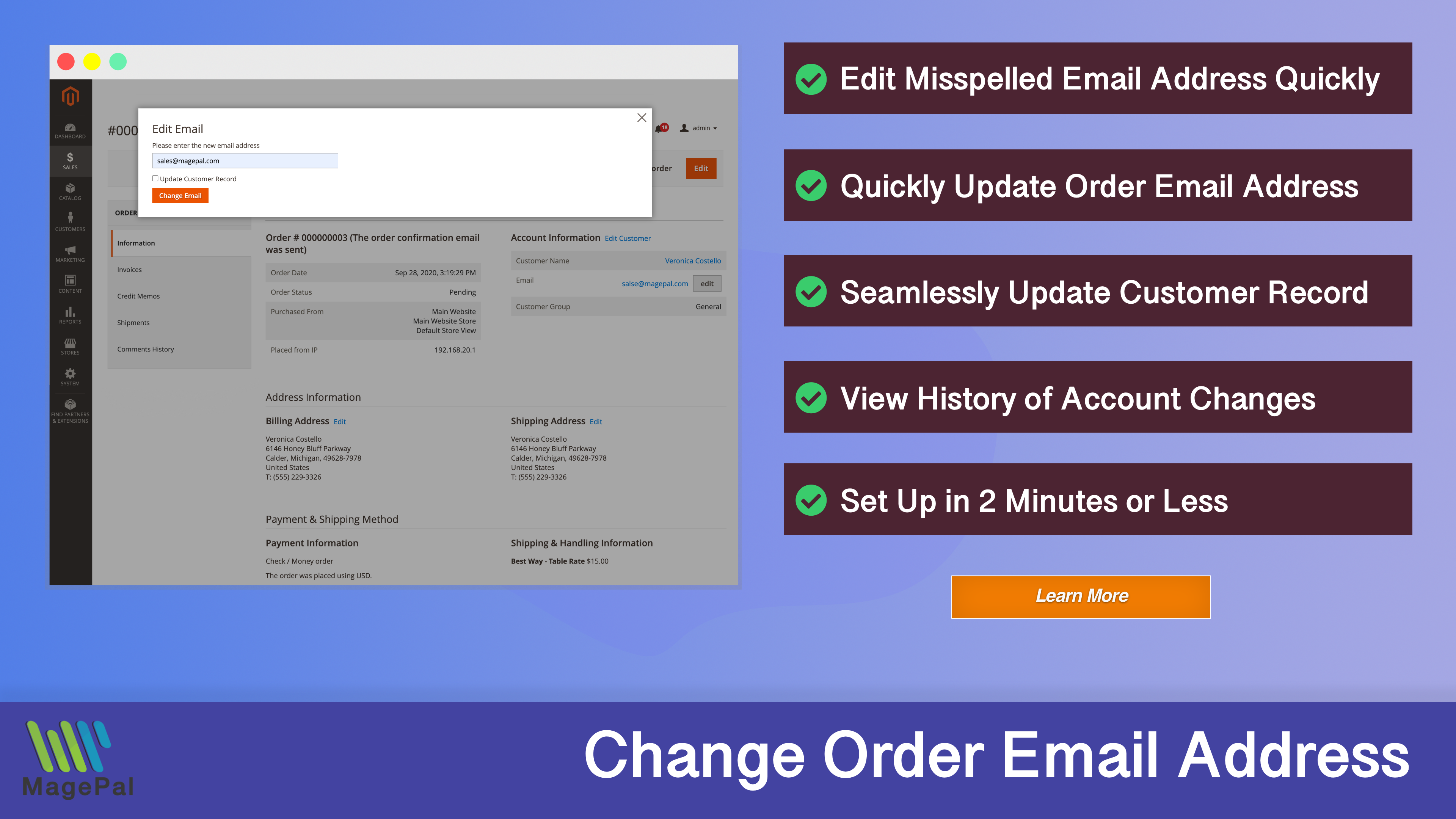 Magento2 - Edit Order Email