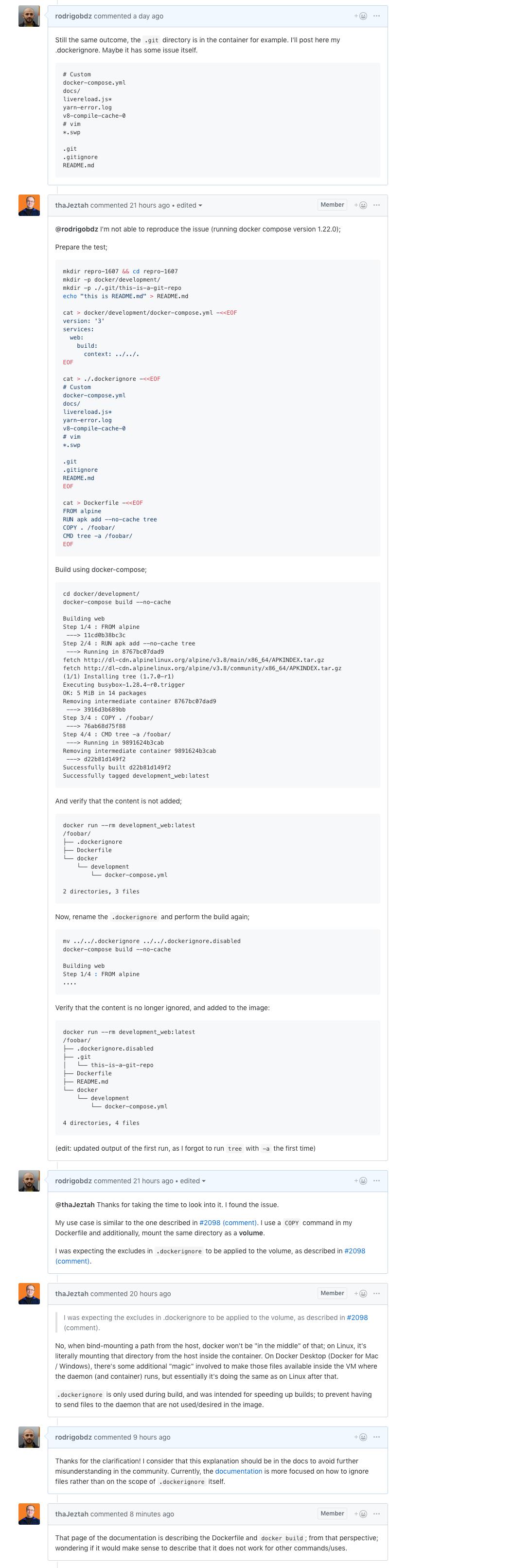 docker-compose build ignoring  dockerignore? · Issue #1607