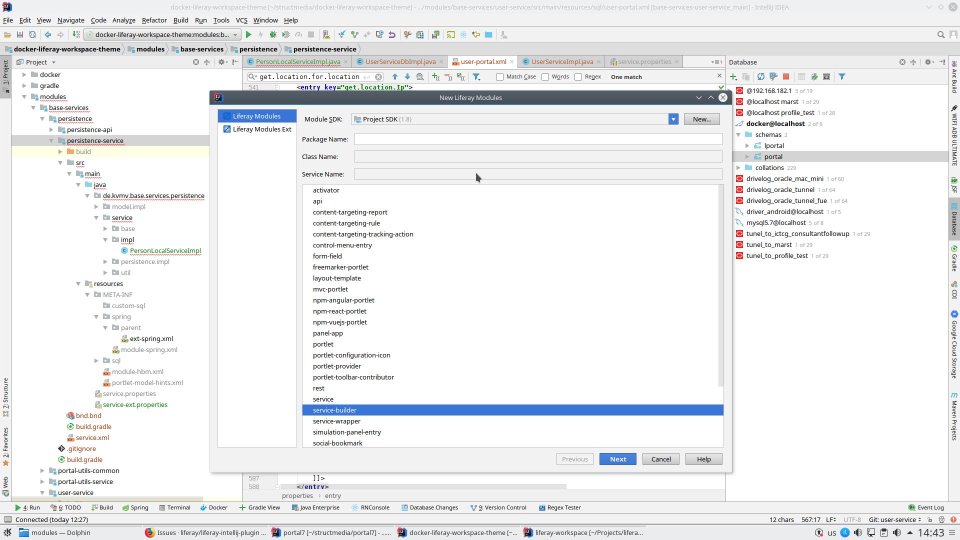 Optional DataSource/DB Schema parameter in new Liferay