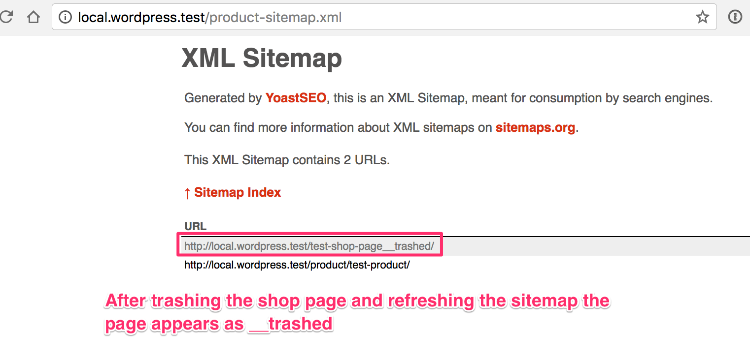 shop base appears in product sitemap when page id is excluded