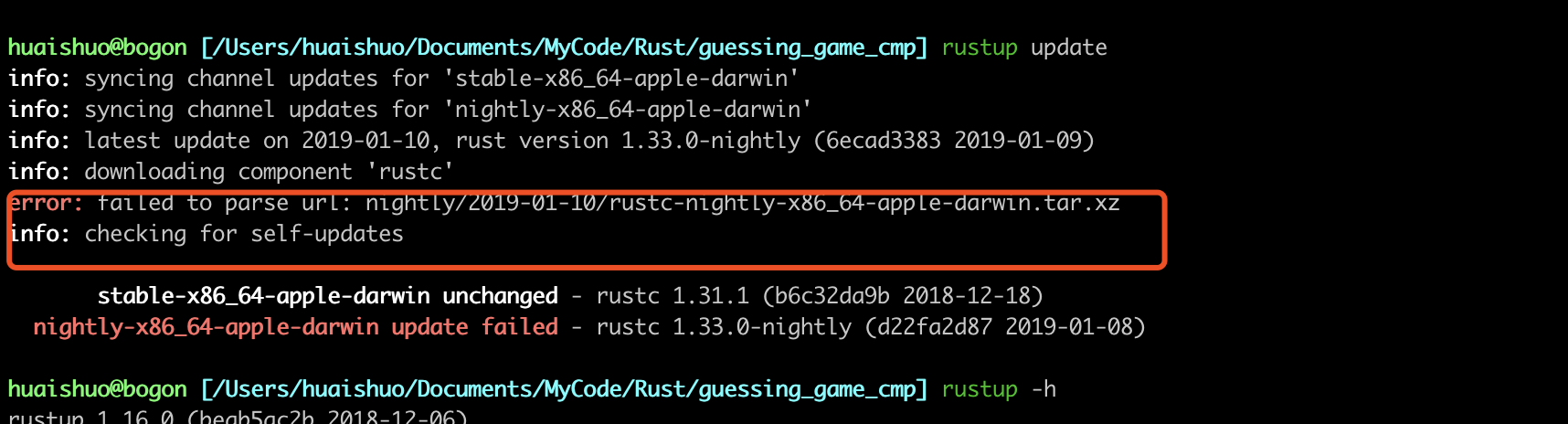 rust update nightly failure after run