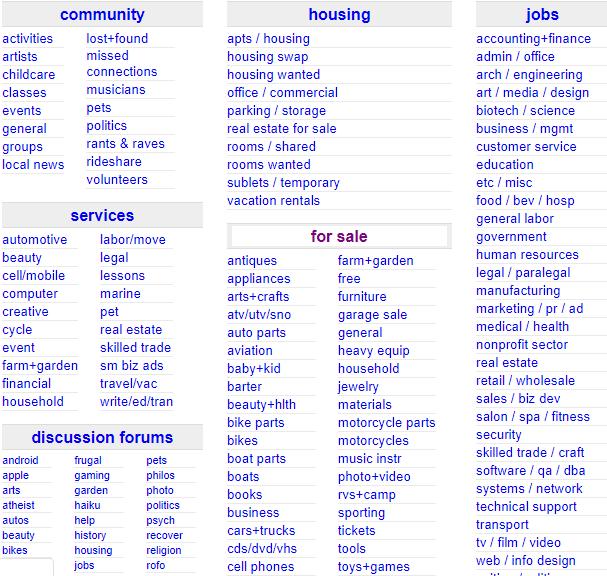 Developers - Craigslist categories  -