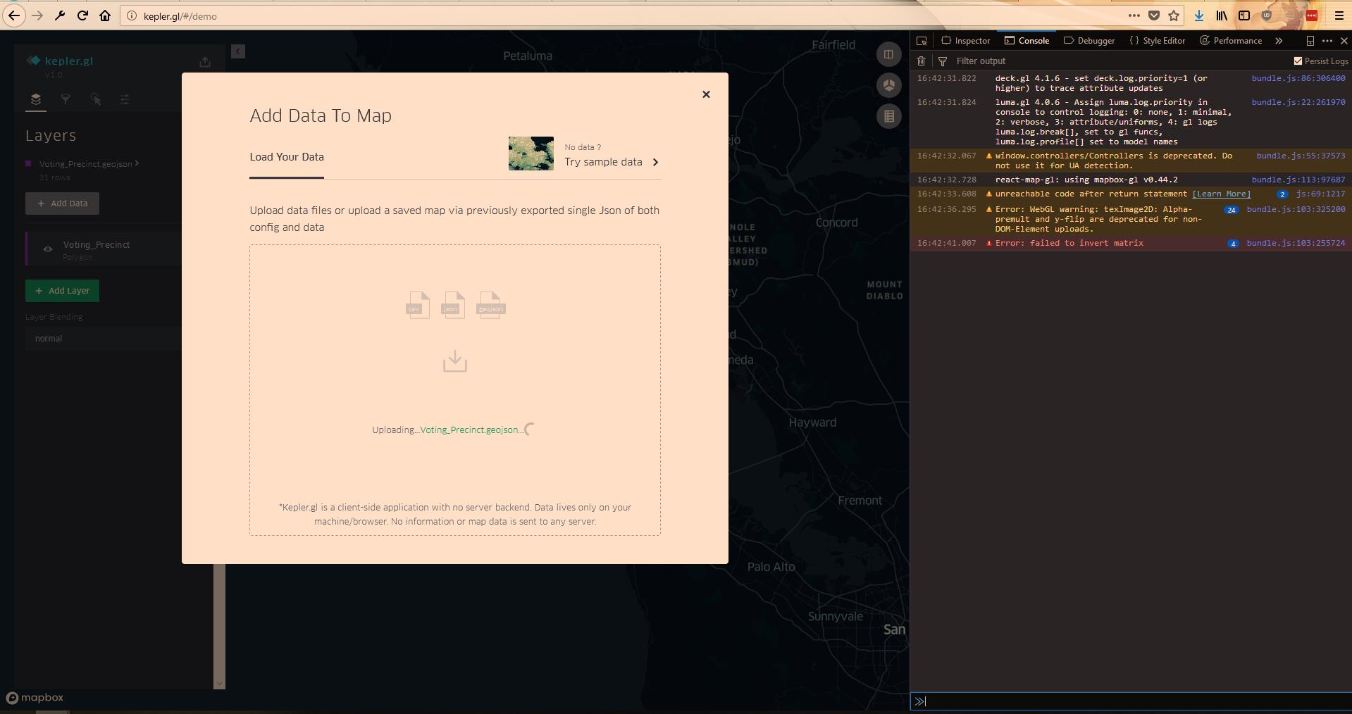 Failed to Invert Matrix Error when uploading GeoJson file
