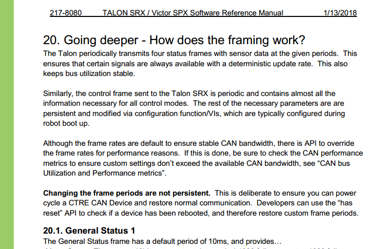 Documentation of StatusFrame defaults · Issue #7