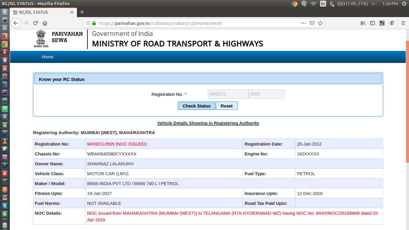 Get vehicle info from an Indian registration number · GitHub